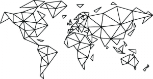 drawing of a geometric world map black on white background.