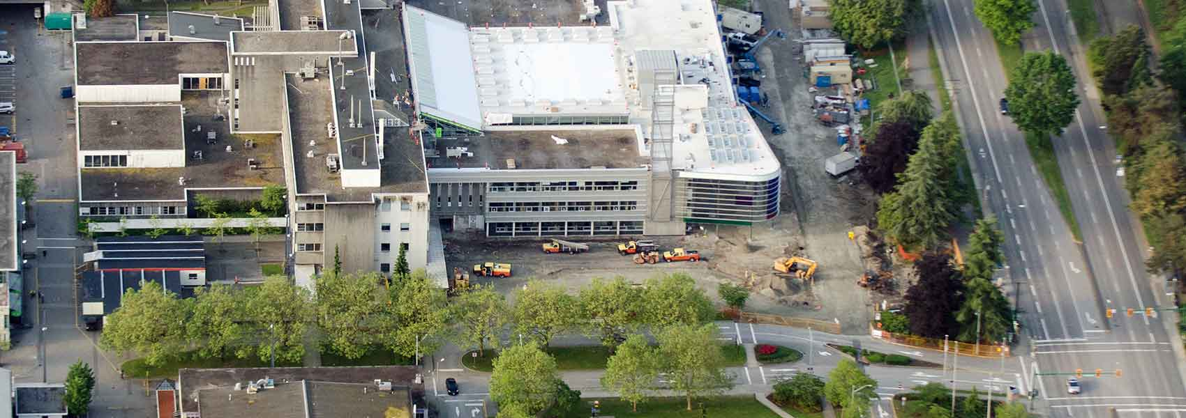 Aerial view of the Gateway building (SW-01) under construction.