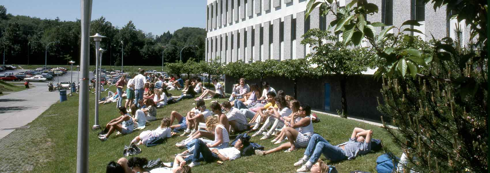Students lying on a grassy hill on campus on a sunny day.