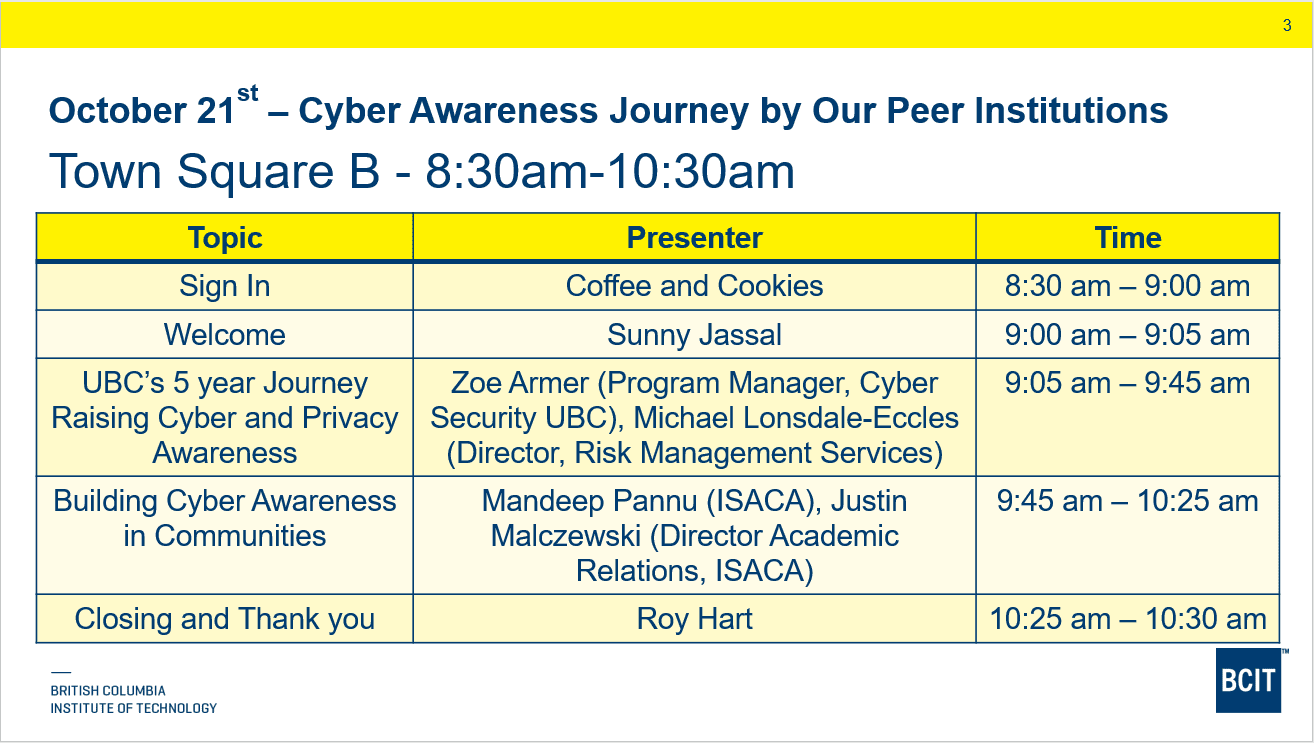 Cyber awareness info session October 21.